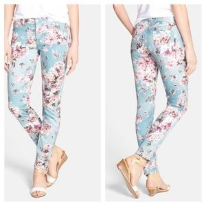 7 FOR ALL MANKIND - Floral Print Skinny Ankle Jean
